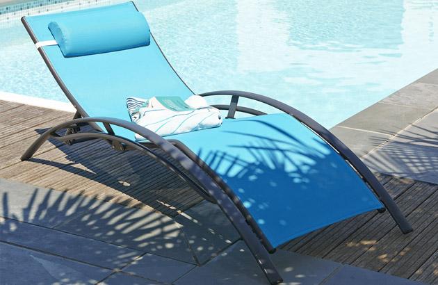 Chaise longue multi-positions aluminium et textilene 170cm x 70cm x 30cm coloris turquoise - Chaise longue confortable et accueillante