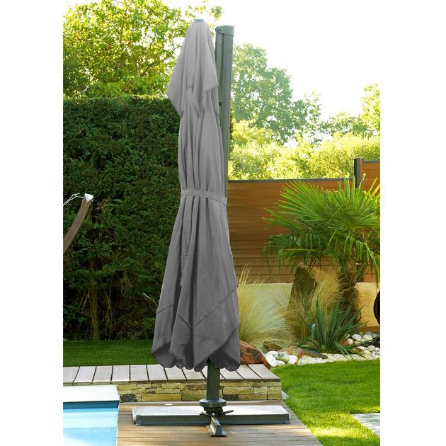 Parasol deporte aluminium carre a manivelle 300cm x 300cm toile coloris gris - Parasol déporté en aluminium élégant et fonctionnel