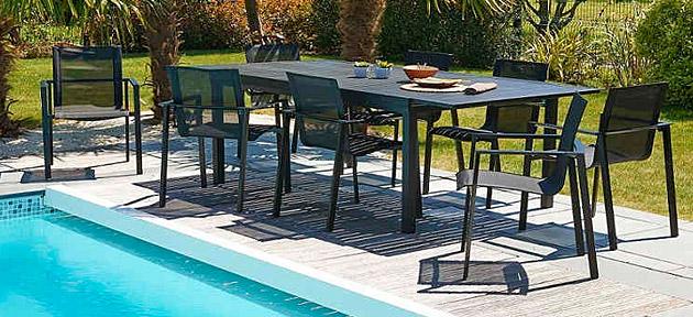 Fauteuil de jardin MIAMI 58 x 58 x 84cm aluminium et textilene noir - Fauteuil MIAMI Design et élégant