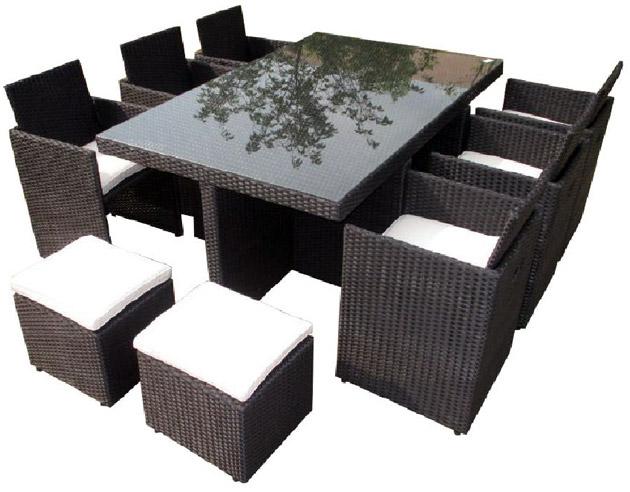 Salon de jardin en resine tressee encastrable avec table + 6 fauteuils + 4 poufs coloris noir - Salon de jardin résine tressée Encastrable pour un gain de place maximal