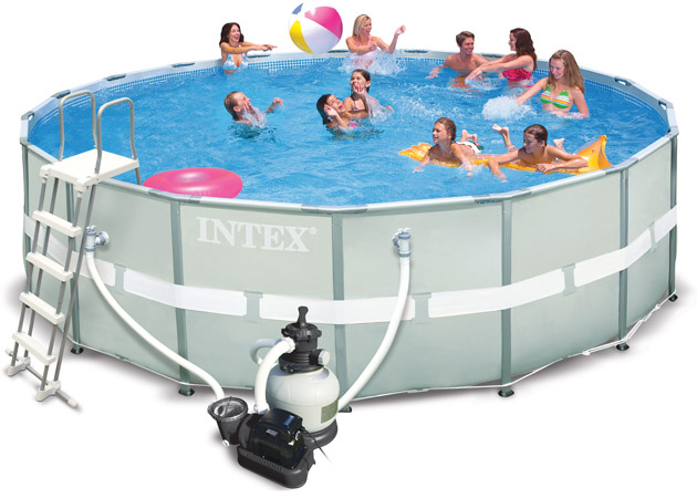 Kit piscine tubulaire Intex ULTRA FRAME ronde Ø427 x 122cm filtration sable 4m3/h - Galerie photos et vidéo de la piscine hors-sol tubulaire Intex ULTRA FRAME