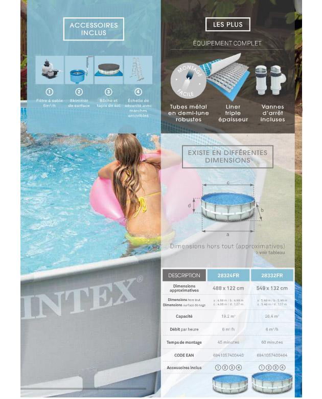 kit piscine tubulaire intex ultra frame ronde avec filtre sable skimmer tapis b che. Black Bedroom Furniture Sets. Home Design Ideas
