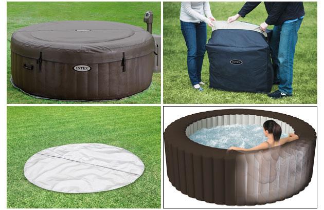 spa gonflable intex purespa jets 4 places rond 196x71cm pvc lamin chocolat sur. Black Bedroom Furniture Sets. Home Design Ideas