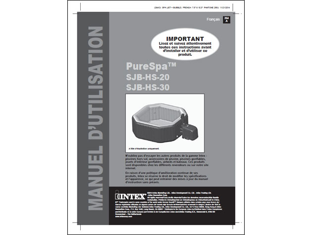 Spa gonflable Intex PURESPA DELUXE 4 places octogonal 201x71cm noir - Notice d'installation et d'utilisation du spa gonflable Intex PURESPA DELUXE jets & bulles