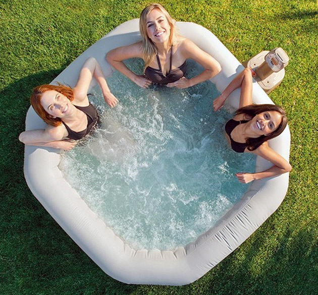 Spa gonflable Intex PURESPA DELUXE 4 places octogonal 201x71cm noir - Galerie photos et vidéos du spa gonflable Intex PURESPA DELUXE jets & bulles