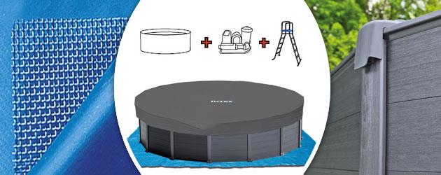 Kit piscine hors-sol Intex GRAPHITE ronde Ø478 x 124cm avec filtration a sable - Piscine hors-sol Intex GRAPHITE Qualité et esthétisme