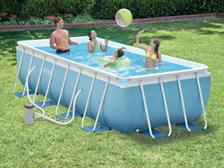 Kit piscine tubulaire intex prism frame ronde 457 x 122cm for Piscinas de plastico decathlon