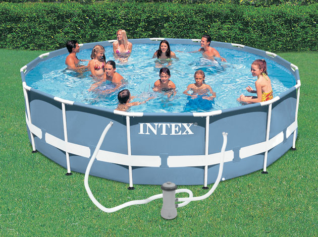 Kit piscine tubulaire Intex PRISM FRAME ronde Ø457 x 107cm filtration cartouche - Galerie photos et vidéo de la piscine hors-sol tubulaire Intex PRISM FRAME