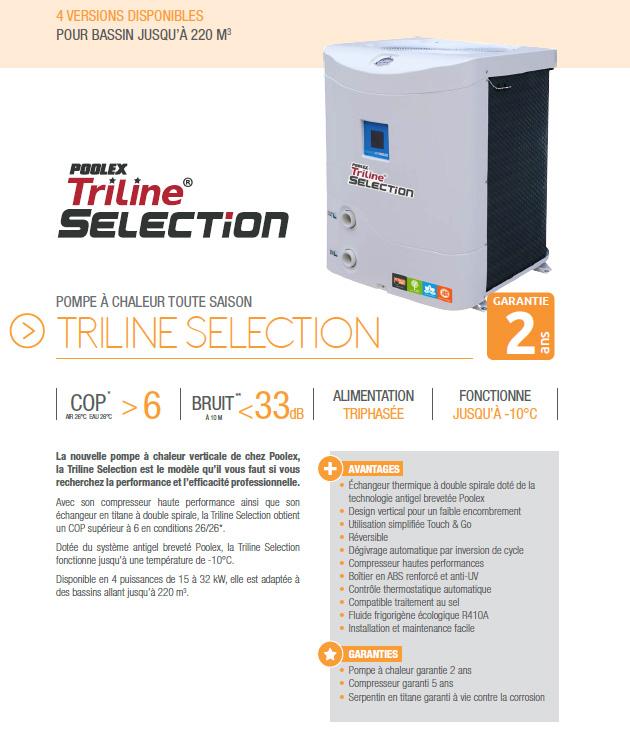 Pompe  Chaleur Poolex Triline Selection  Triphase Sur