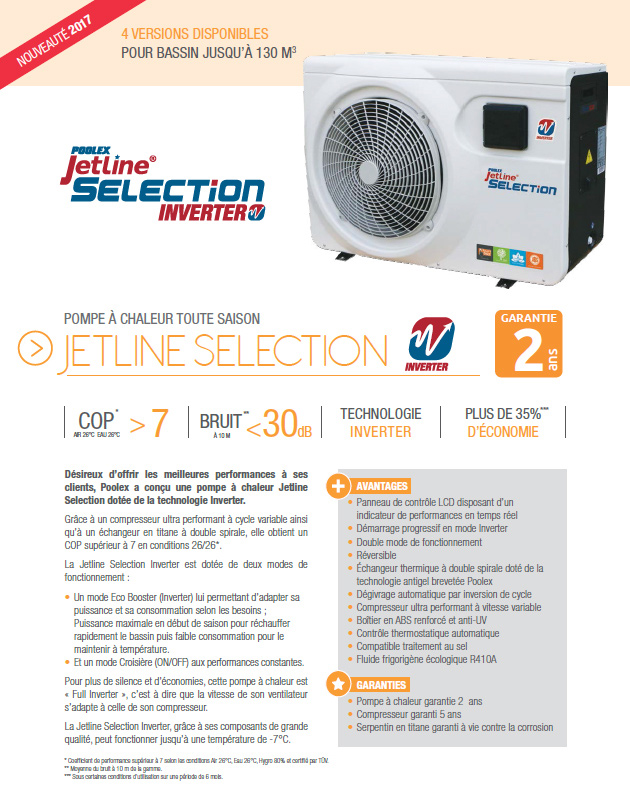 Pompe a chaleur Poolex JETLINE SELECTION INVERTER 200 monophasee - Avantages des pompes à chaleur piscine Poolex JETLINE SELECTION INVERTER