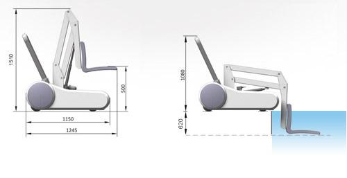 Fauteuil de mise a l'eau mobile I SWIM HEXAGONE - Caractéristiques du fauteuil de mise à l'eau mobile I SWIM HEXAGONE