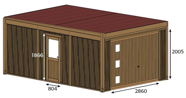 Garage de jardin CARPROTECT 23m² bois marron - Dimensions du garage en bois CARPROTECT de WOODLAND