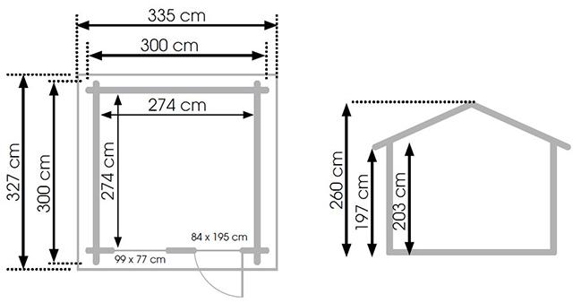 Abri de jardin en bois MERIBEL 7,51m² marron - Dimensions de l'abri de jardin en bois MERIBEL