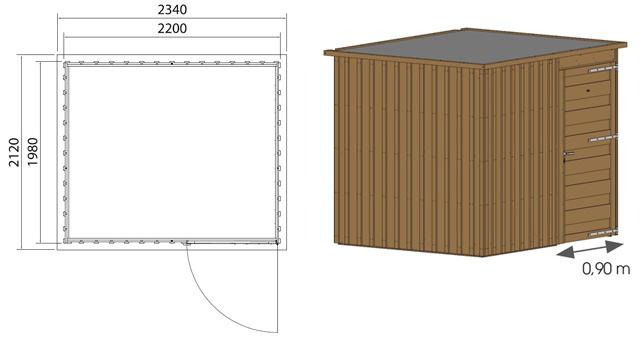 Abri de jardin en bois MEGEVE 4,4m² marron - Dimensions de l'abri de jardin en bois MEGEVE