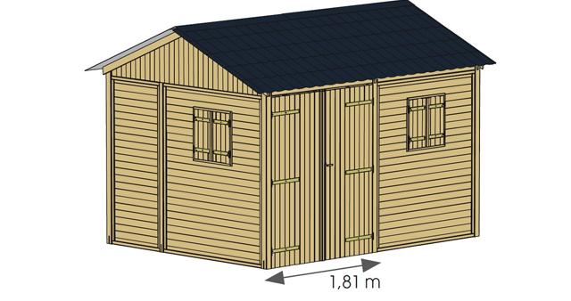 Abri de jardin modulable en bois MORZINE 11,6m² toiture graphite - Dimensions de l'abri de jardin modulable en bois MORZINE