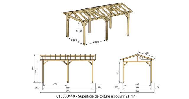Abri de voiture bois sans toiture CARPROTECT 15,6m² - Dimensions de l'abri de voiture bois sans toiture CARPROTECT
