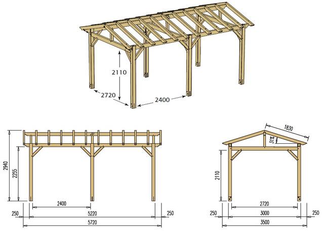 Abri de voiture bois CARPROTECT 15,6m² toit terre cuite - Dimensions de l'abri de voiture bois CARPROTECT
