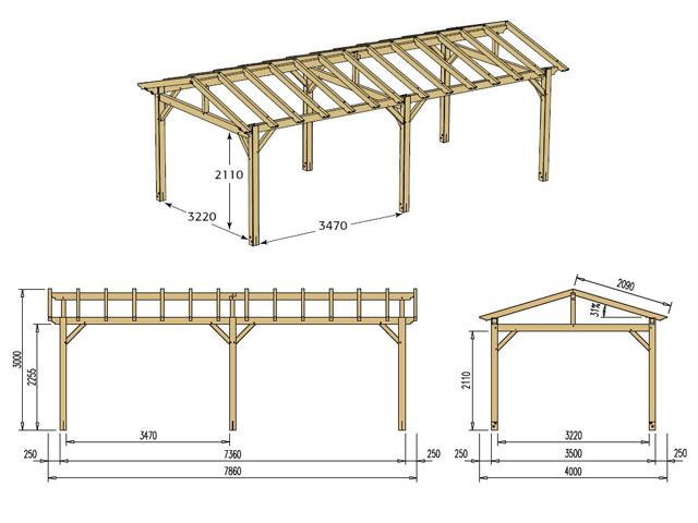 Abri de voiture bois CARPROTECT 25,7m² toit terre cuite - Dimensions de l'abri de voiture bois CARPROTECT