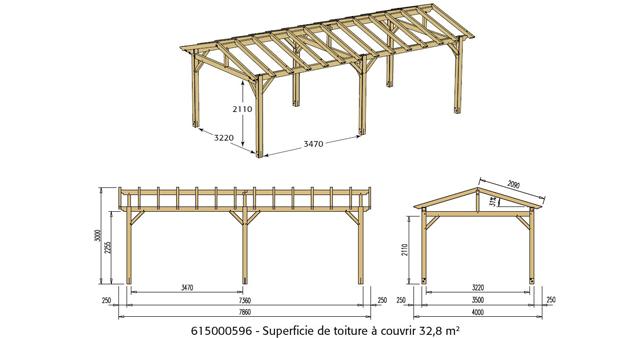 Abri de voiture bois sans toiture CARPROTECT 25,7m² - Dimensions de l'abri de voiture bois sans toiture CARPROTECT