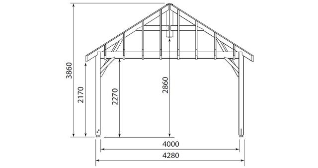 Carbet bois 18,32m² sans toiture - Dimensions du carbet bois 18,32m² sans toiture