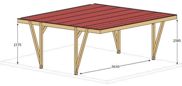 Carport bois CARPROTECT 34m² 2 voitures - Dimensions de l'abri de voiture Carport bois CARPROTECT 34m²