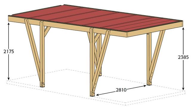 Carport bois CARPROTECT 17m² - Dimensions de l'abri de voiture Carport bois CARPROTECT 17m²