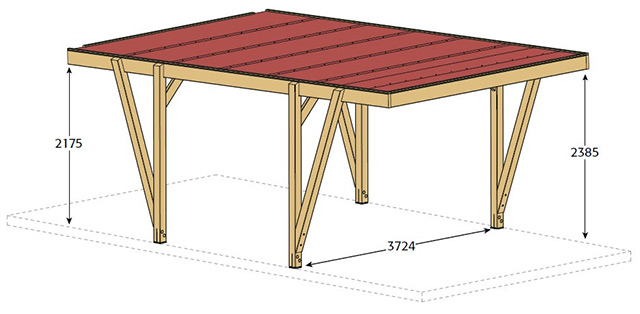 Carport bois CARPROTECT 23m² - Dimensions de l'abri de voiture Carport bois CARPROTECT 23m²