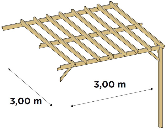 Extension laterale pour pergola bois Durapin JUGO adossee - Dimensions de l'extension latérale pour pergola bois JUGO adossée