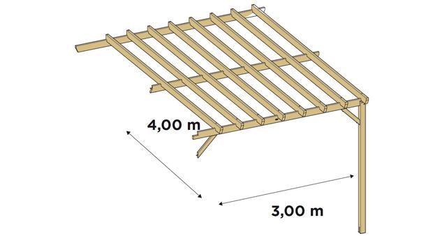 Extension laterale pour pergola bois Durapin JUGO GRANDE - Dimensions de l'extension latérale pour pergola bois JUGO GRANDE