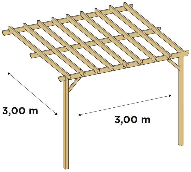 Pergola bois Durapin JUGO adossee - Dimensions de la pergola bois JUGO adossée