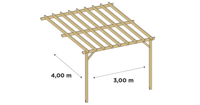 Pergola bois TAHITI grande adossee - Dimensions de la pergola bois TAHITI grande adossée