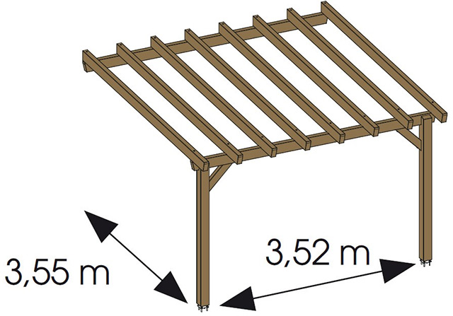 Pergola bois HAWAII adossee en pin marron - Dimensions de la pergola bois HAWAII adossée en Pin Marron