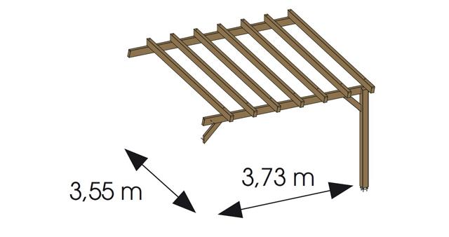 Extension pour Pergola bois HAWAII adossee en Douglas gris - Dimensions de l'extension pour Pergola bois HAWAII adossée en Douglas gris