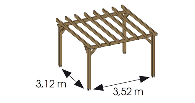 Pergola bois HAWAII independante en Pin marron - Dimensions de la pergola bois HAWAII indépendante en Pin marron