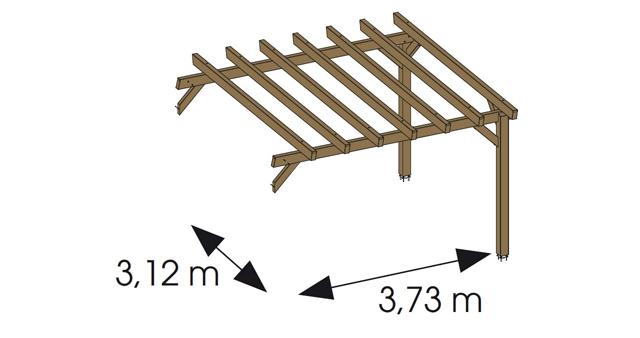 Extension pour Pergola bois HAWAII independante en Pin marron - Dimensions de l'extension pour Pergola bois HAWAII indépendante en Pin marron