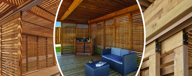 Pergola bois IBIZA en pin marron 6 x 4 m - Pergola bois IBIZA en Pin marron 6 x 4 m