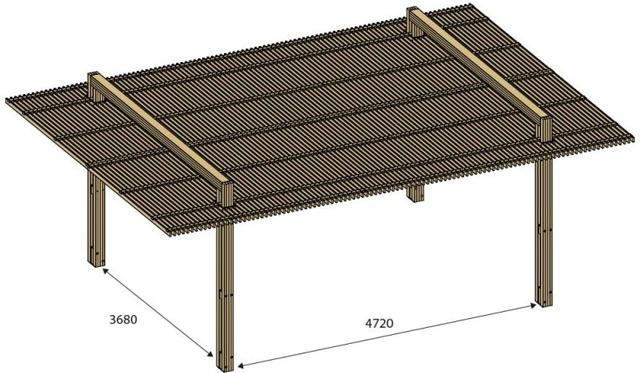 Pergola bois IBIZA en pin marron 7,08 x 5m - Dimensions de la pergola bois IBIZA en Pin marron 7,08 x 5m