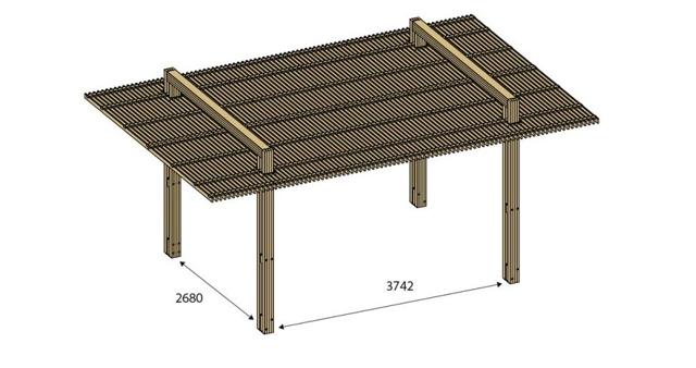 Pergola bois IBIZA en pin marron 6 x 4 m - Dimensions de la pergola bois IBIZA en Pin marron 6 x 4 m