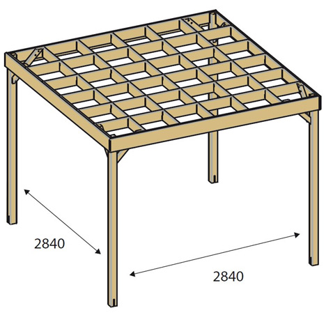 Pergola en bois AZURA Pin classe 4 dimensions 3 x 3 m - Dimensions de la pergola bois AZURA Pin classe 4 dimensions 3 x 3 m