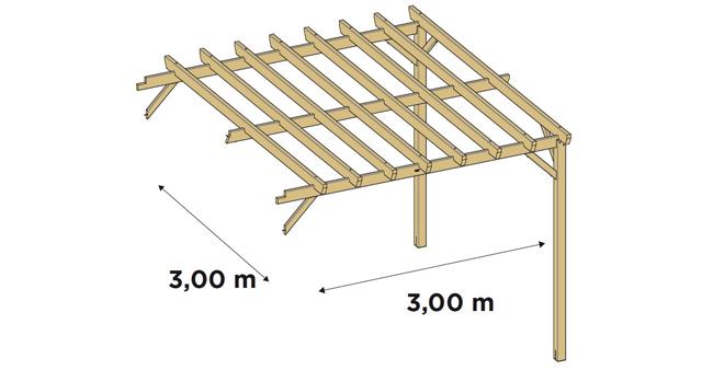 Extension laterale pour Pergola bois Durapin JUZINA independante en Pin marron - Dimensions de l'extension latérale pour Pergola bois JUZINA indépendante en Pin marron