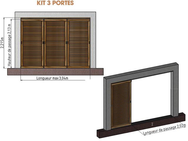 Kit 3 portes pour pergola en bois IBIZA - Dimensions du kit 3 portes pour pergola en bois IBIZA