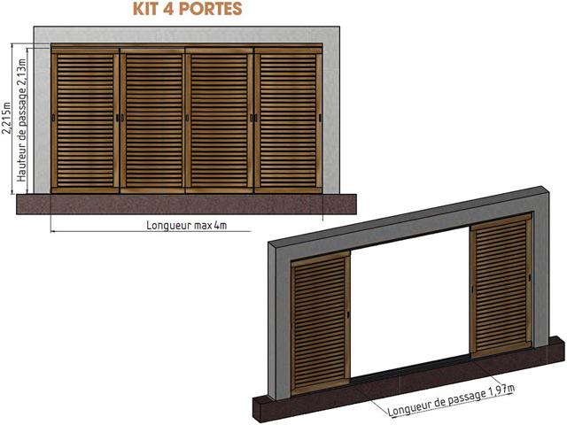 Kit 4 portes pour pergola en bois IBIZA - Dimensions du kit 4 portes pour pergola en bois IBIZA