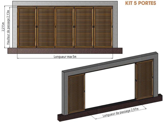 Kit 5 portes pour pergola en bois IBIZA - Dimensions du kit 5 portes pour pergola en bois IBIZA