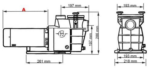 Pompe piscine Hayward Max Flo 0.75cv 11m³/h Mono - Dimensions et performances de la pompe Max Flo Hayward 0.75cv 11m³/h monophasée