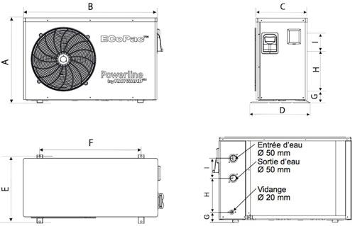 Pompe a chaleur Hayward EcoPac POWERLINE mono reversible - Caractéristiques techniques