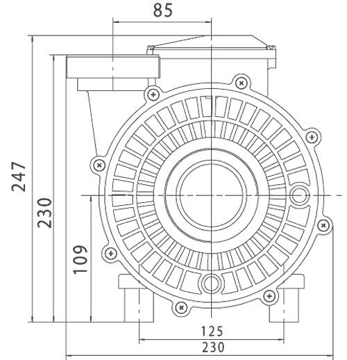 Pompe filtration 25m³/h Solubloc 20 compatible Desjoyaux P25 - Dimensions et performances de la pompe filtration 25m³/h Solubloc 20 compatible Desjoyaux P25