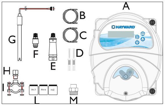 Pompe doseuse EZ pH Hayward - Caractéristiques techniques et contenu du pack de la pompe doseuse EZ pH Hayward