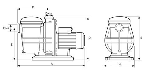 Pompe ESPA TIFON 1 50M 0,5cv Tri 15m³/h - Pompes piscine ESPA TIFON 1 50M 0,5cv Tri 15m³/h Dimensions