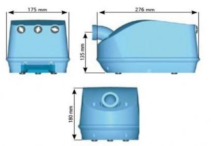 Blower 1200w 10 a 15 jets G120-2NN-M - Dimensions du blower 1200w 10 à 15 jets G120-2NN-M