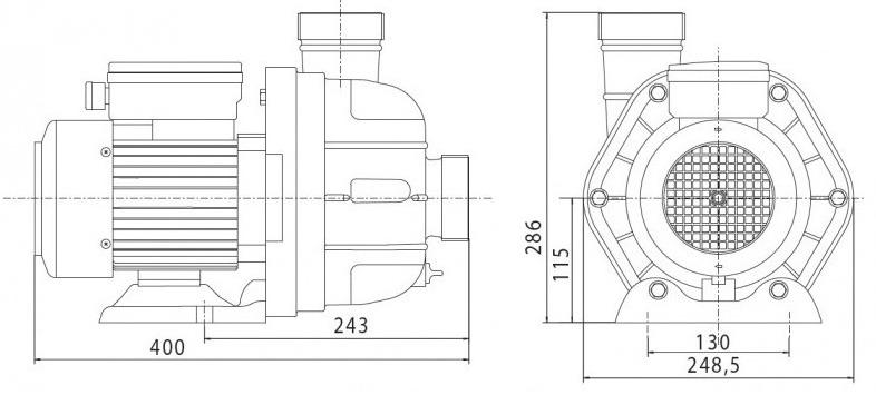 Pompe 3cv Tri MGD+ de remplacement pour Jet Vag junior - Dimensions de la pompe 3cv Tri MGD+ de remplacement pour Jet Vag junior